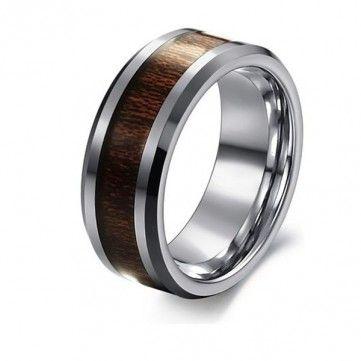 Men Rosewood Tungsten Steel Carbon Fiber Wide Finger Ring