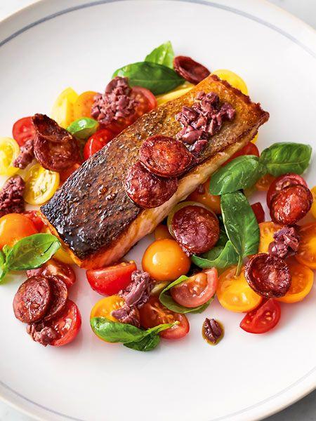 Jamies Gebratener Lachs Mit Chorizo Recipe Culinary Lachs