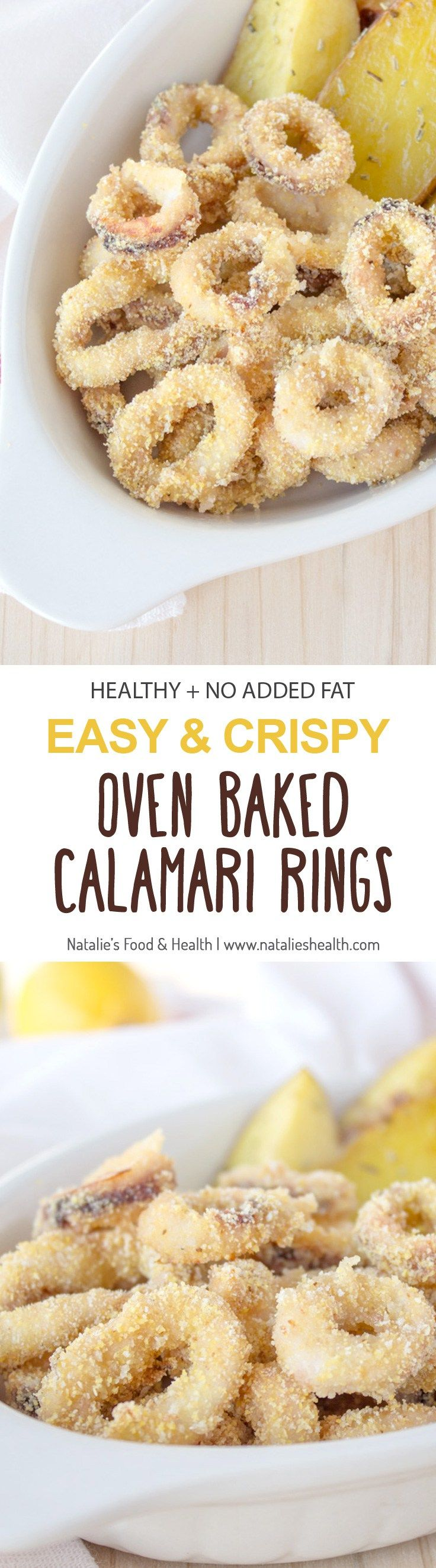 Crispy Oven Baked Calamari Rings - prepared without added fat. Easy, simple and healthy seafood meal for the whole family. : nataliesfoodandhealth #seafood #holiday