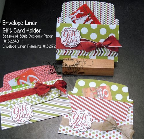 www.PattyStamps.com - easy DIY Gift Card Holders for Christmas make your own with the Stampin' Up! Envelope frameilts and designer paper