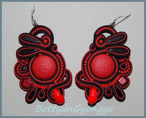 Devil  Asymmetric soutache earrings by BottyanGyongye on Etsy