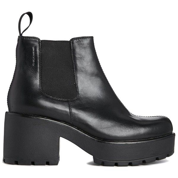 Vagabond Leather Dioon Chelsea Ankle Boots (£105) ❤ liked on Polyvore featuring shoes, boots, ankle booties, heels, black, leather chelsea boots, black booties, heeled chelsea boots, heeled boots and heeled booties