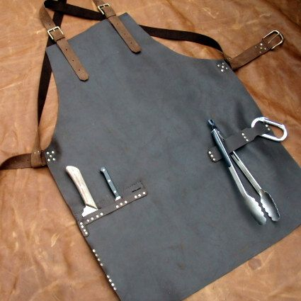 Leather Work Apron with Knife Sheath Pockets by CyclonaDesigns, $339.00