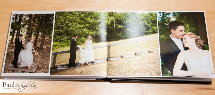 metallic paper lay flat album of a wedding at Glen Eagle Golf Course