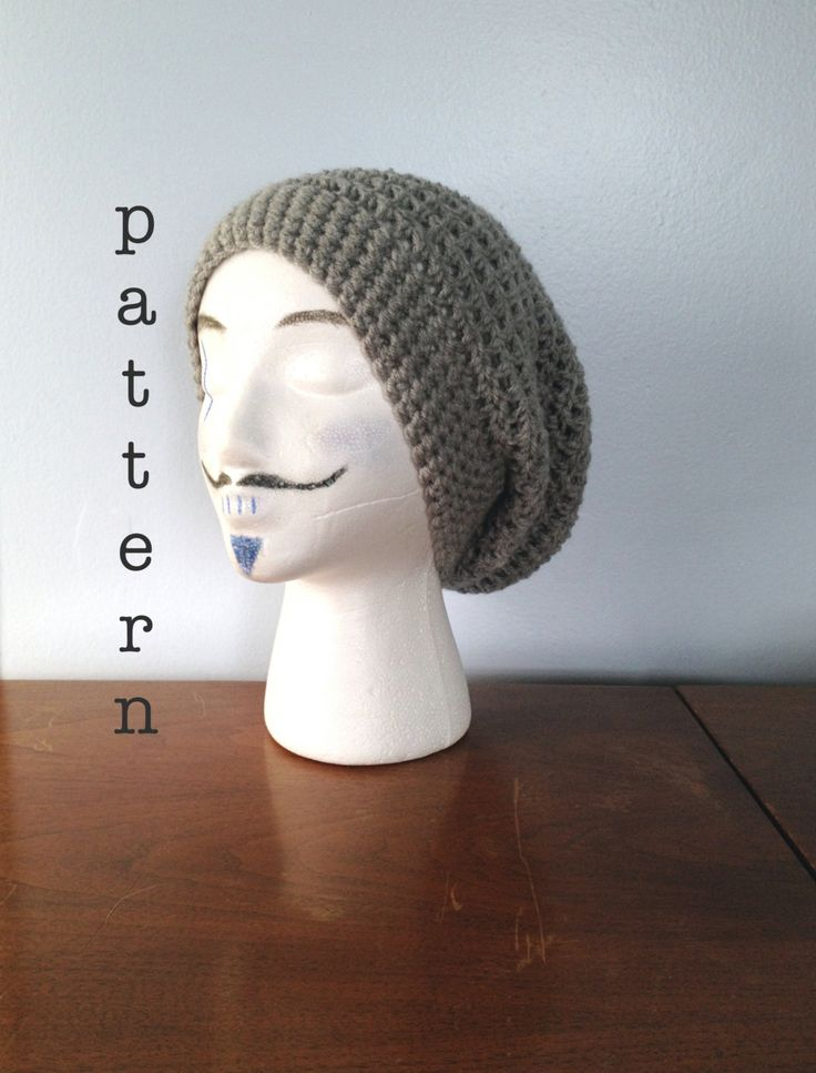 PATTERN Crochet Slouchy Beanie Pattern - Crochet Hat - Slouch Hat Pattern - Mens…