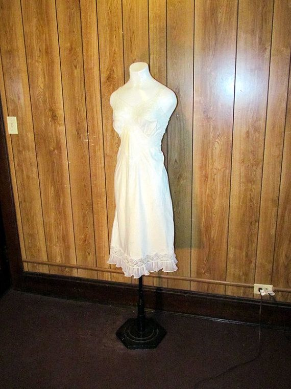 Beautiful WHITE SATIN LINGERIE Full Slip by BeauMondeVintage