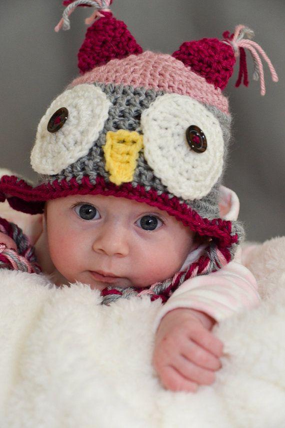 baby crochet owl hat