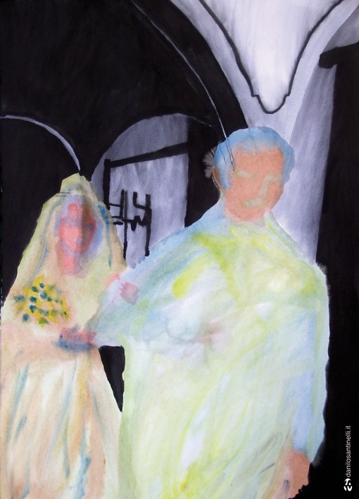 """Danilo Santinelli  """"The marriage of Maria""""  Acrylic and ink on paper 100x70cm"""