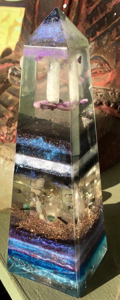 Magickal Orgonite Obelisk Crystal by VioletFlameOrgoneLA on Etsy