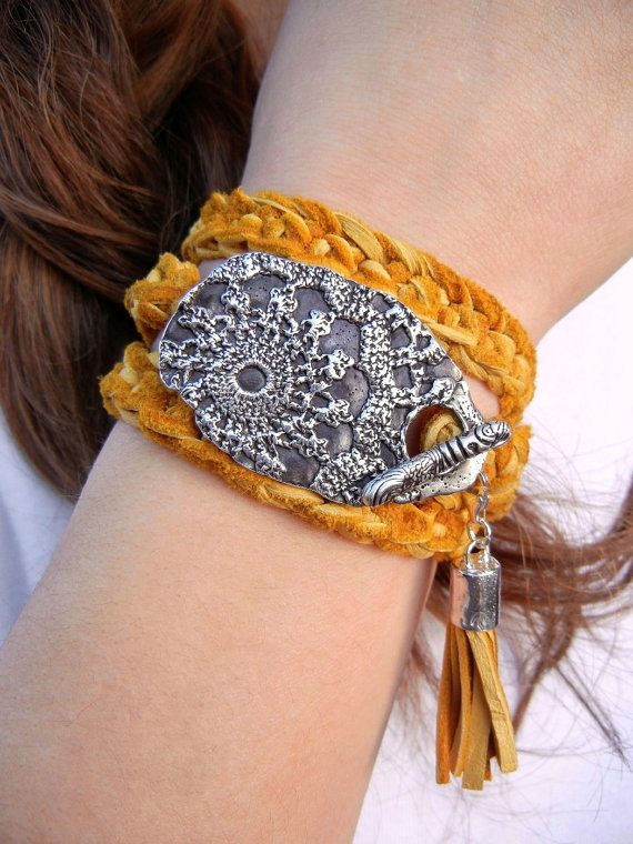 #coolsilverjewelry Boho Jewelry Bohemian Leather Wrap Bracelet Hippie by HappyGoLicky, $145.00