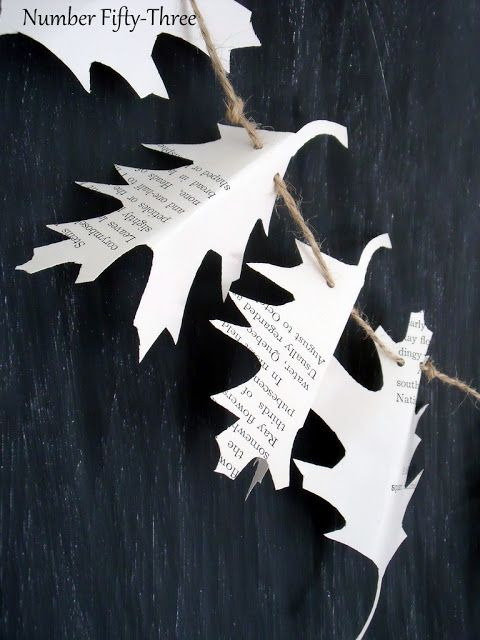 Leaf garland with quotes and book recommends ... Could also do with hearts for Valentines