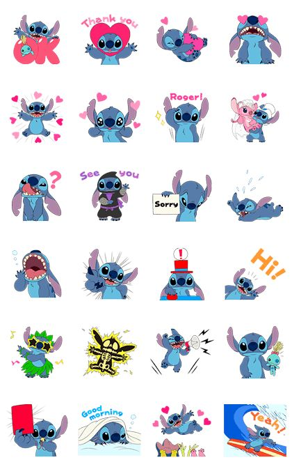 Stitch is back for a second set of animated stickers! This set's got both smiles and hearts galore. Send them to a friend and tickle their funny bone!