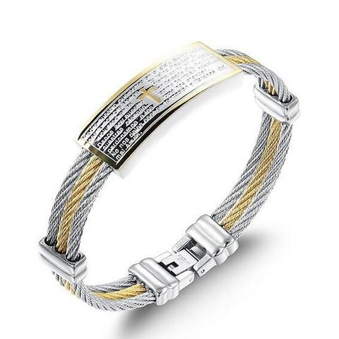 "InFaith™ ""The Prayer"" Stainless Steel Band Faith Bracelet"