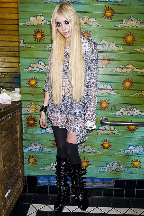 Gossip Girl Taylor Momsen - also lead rocker of The Pretty Reckless - stylin' at House of Blues, C: Glamour Magazine, 2012
