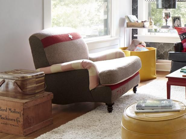 Relaxing armchair upholstered in vintage Swiss army blanket