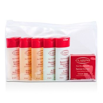 CLARINS Eau Dynamisante Body Coffret: Body Exfoliator + Body Lotion + Shower Gel + Shampoo + Conditioner + Soap 6pcs http://www.shopprice.com.au/body+conditioner