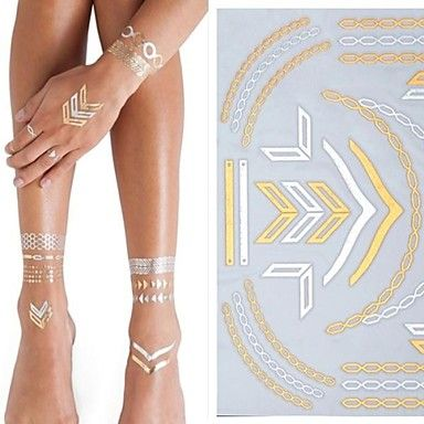 1 - 25*15.5CM - Χρυσό/Ασημί Σειρά Κοσμημάτων - Αυτοκόλλητα Τατουάζ - Μοτίβο/Χαμηλά στην Πλάτη/Waterproof - από Χαρτί για Γυναικεία/Ενήλικες/Εφηβικό – EUR € 2.93