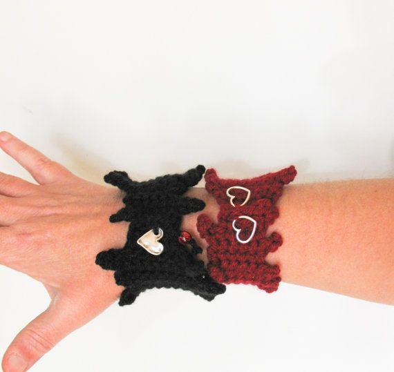 Red Black Heart Beat Crochet Cuff Valentine day by totalhandmadeD