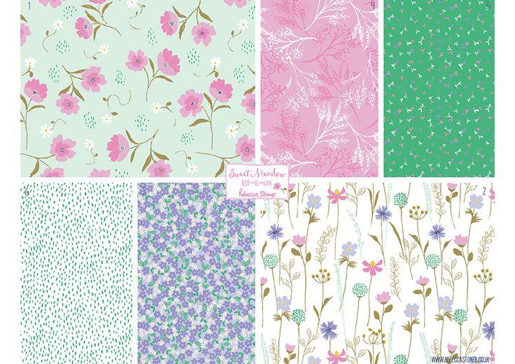 Sweet Meadow by Rebecca Stoner #floralpattern #surfacepatterndesign #patterndesign