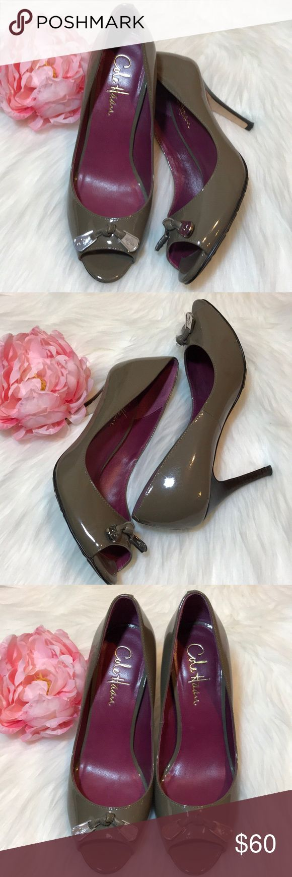 Cole Haan peep toe pumps. Cole Haan  Nike Air olive green peep toe pumps with bow on the front. Very comfortable, wore once in excellent condition. 3 1/2 inches heels. Cole Haan Shoes Heels