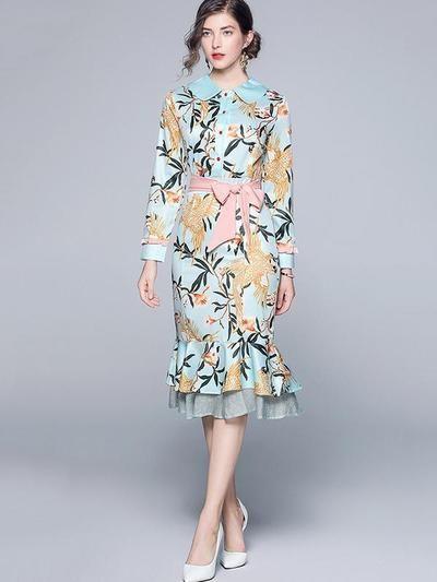 Sereia Peter Pan Collar Imprimir Lace-Up Bodycon Vestidos de festa   – Fall & Winter FW Dresses