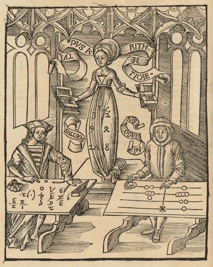 Gli Algoristi contro gli Abacisti, dalla Margarita philosophica di Gregor Reisch (1503).