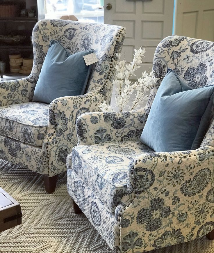 Modern farmhouse chairs   Blue furniture living room ...