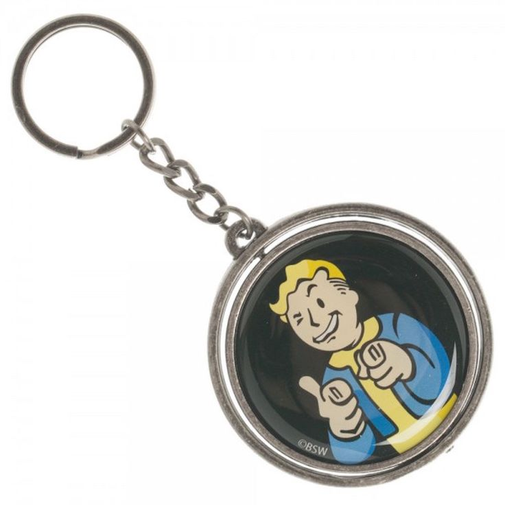 Fallout 4 Vault Boy and Nuka Cola Spinner Double Sided Metal Keychain Key Ring #Bethesda