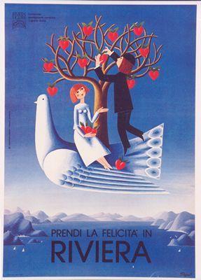 1985 La felicita in Riviera poster by Raymond Peynet