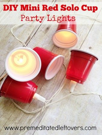 DIY Mini Red Solo Cup Party Lights - Here is an easy tutorial on how to make mini red solo cup party lights for a festive party decoration.