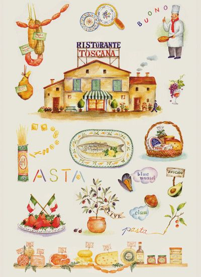 料理と食材イラスト : 水彩イラスト 川副美紀 MIKI KAWAZOE Illustrations (watercolor)