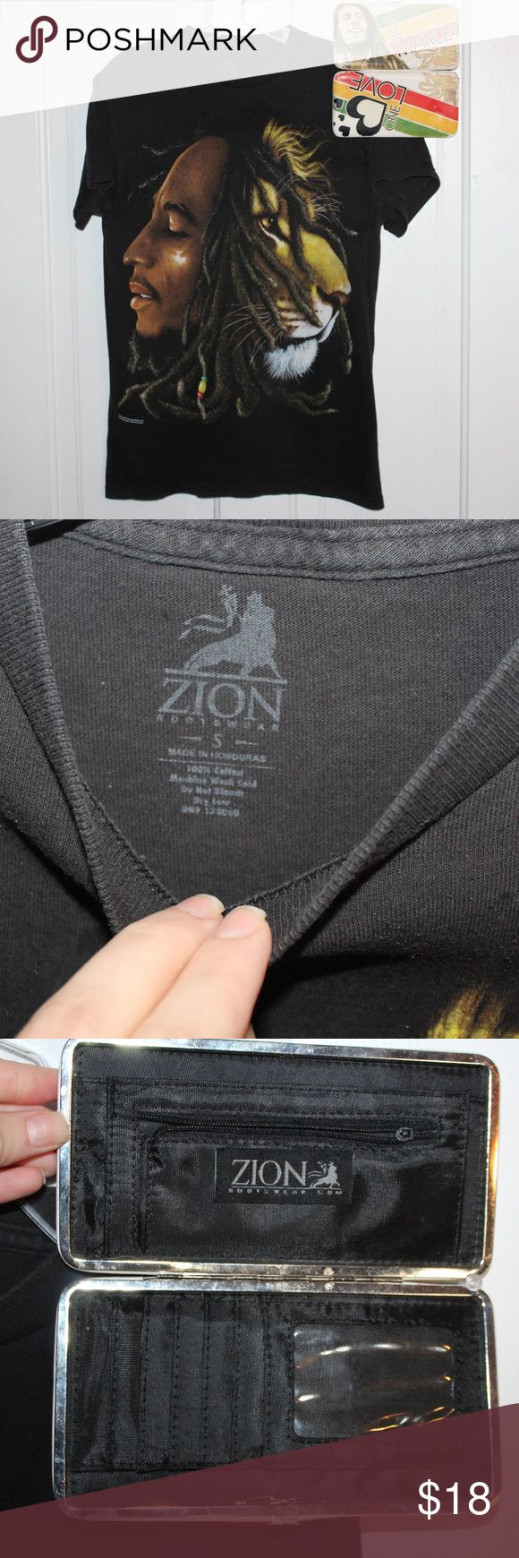 Small Bob Marley Lion Shirt w/ Matching Wallet! Shirt is in great condition- slight fade but good. wallet has a little wear on the outside but GREAT CONDITION on the inside. Zion Tops Tees - Short Sleeve