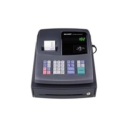 Sharp Cash Register XE-A106. High contrast LED, Black cabinet, Microban Keys,simplified programming, 80 PLU's auto tax system, flash reporting, 4 clerk numbers, locking cash drawer, and media slot.