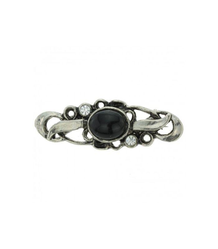Mooie broche in antiek zilver kleurig met strassstenen en zwarte acryl steen| Afmeting van de broche is 4 cm bij 1,4 cm | EAN: 0000102310021 | Behave sieraden