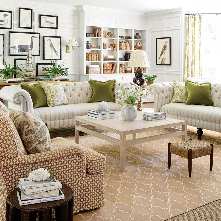 How To Master Classic Georgian Style: White and Green Family Room