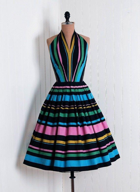Sun Dress Sportlane Deb 1950 S American Candy Stripe