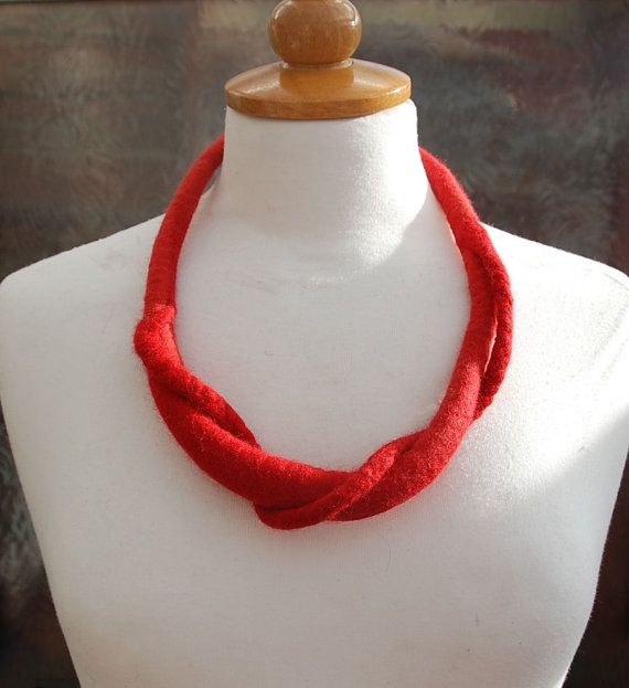 Felted necklace Art necklace red felt jewelry felted by AnnaWegg, £21.99