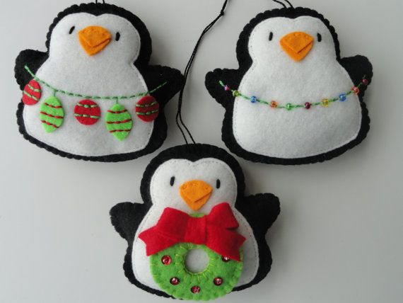 Felt Ornament Tree Trimming Penquins-Felt Ornaments-Tree Ornaments-Penguin…