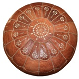 Moroccan Leather Footstool Large Pouf Dark Tan