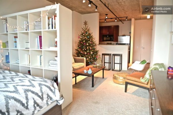 A good layout for a studio apartment. I would have a mini dance studio and have this layout and Id be perfect!