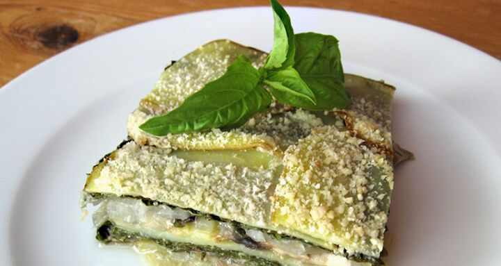 This dish is based on traditional au gratin potatoes, but without the cheese, milk, butter or flour. And along with the potatoes, thin layers of mushrooms and onions are stacked with chard and fresh basil. A few cashews make the...  Read more