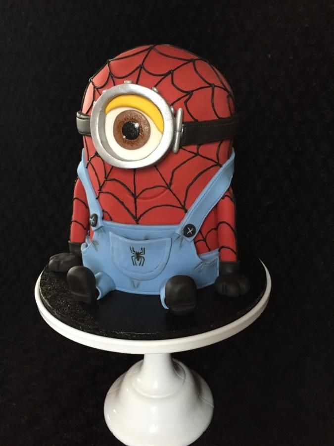 *This cake is for my gorgeous little boy Roman who is three today ! When I asked him what cake he would like he said Spiderman  Hulk Dave Bumblebee and batman !!! So I plumped with Dave dressed as spiderman lol my second minion cake I do love these...