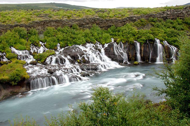Hraunfossar falls in West Iceland