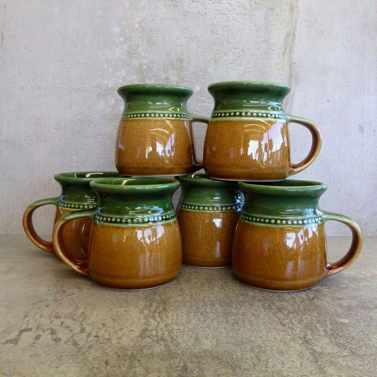 6 Bendigo Pottery Coffee Mugs made in Bendigo Australia.