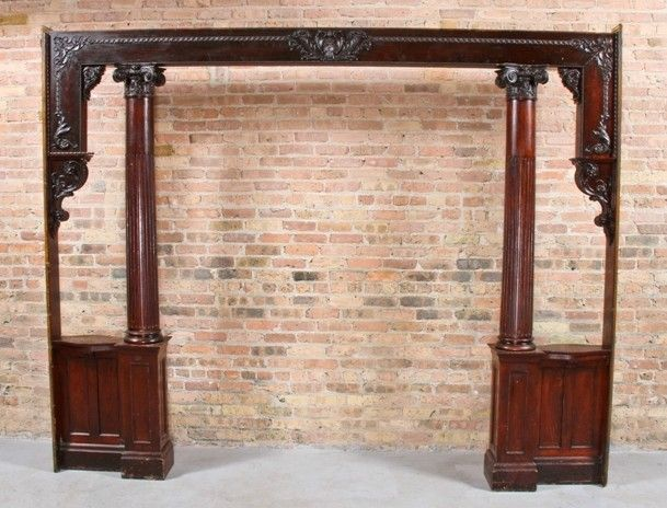 remarkable late 19th century american victorian era interior residential varnished oak colonnade with replete with gesso ornament