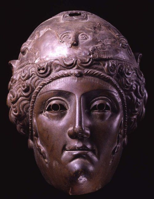 Bronze parade mask: a woman's face, perhaps worn by soldiers representing Amazons, 2nd century, Ancient Rome. The British Museum