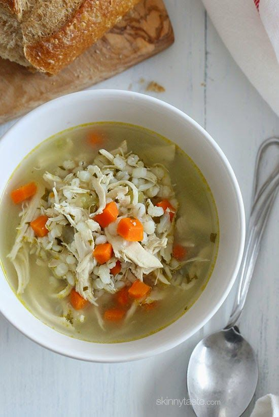 Chicken Barley Soup Skinnytaste.com Servings: 6 • Size: 1 1/2 cups  • Old Points: 5 pts • Weight Watcher Points+: 6 pt