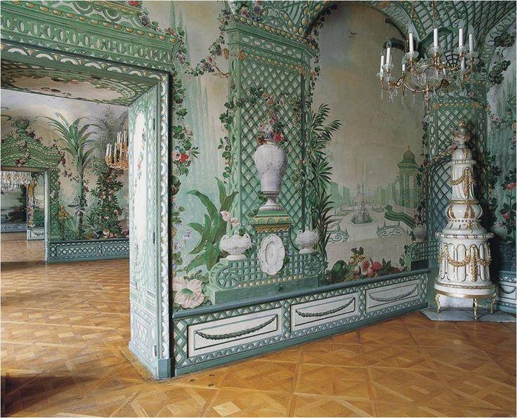 Goëss Apartment - Schönbrunn Palace, Austria - Vienna. paintings by Johann Wenzel Bergl and his studio between 1774 and 1778. The World of Interiors