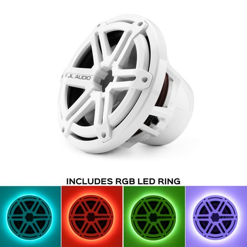 JL Audio M10W5-SG-WH:10-inch (250 mm) Marine Subwoofer Driver White Sport Grille With RGB LED Speaker Ring