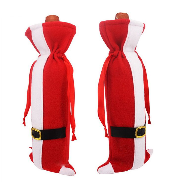 High quality Pure handmade Cute Cartoon Christmas Red wine Bottle bags cover clothes home dinner Table Decoration Gift Holders(China (Mainland))